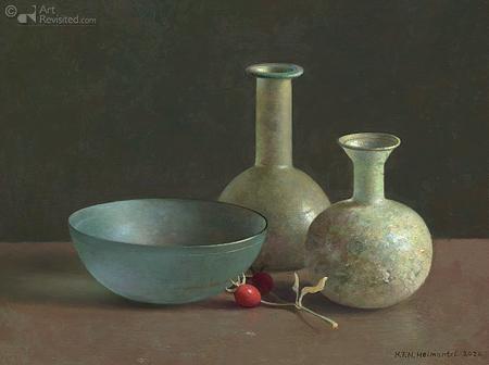 Romeins glas en rozenbottels