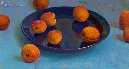 Abrikozen op blauw bord