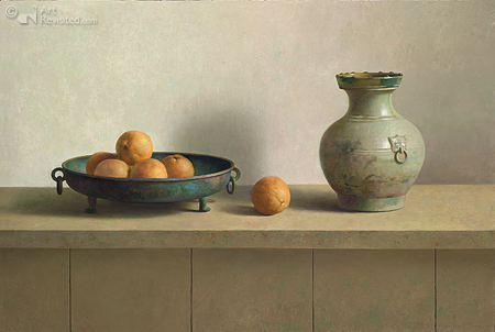 Stilleven met Han vaas en bronzen schaal met sinaasappels