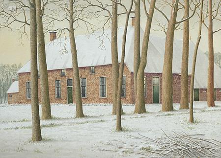 Boerderij in Lutten Oever in wintertooi
