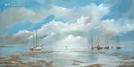 De bruine vloot op het blauwe Wad
