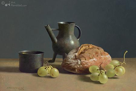Stilleven met druiven, brood en schenkkan (avondmaal)