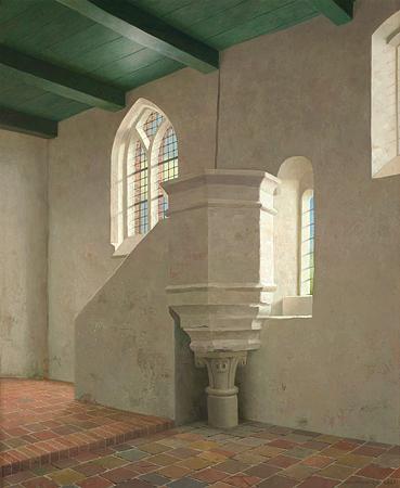 Gezicht op de stenen preekstoel van de kerk in Fransum