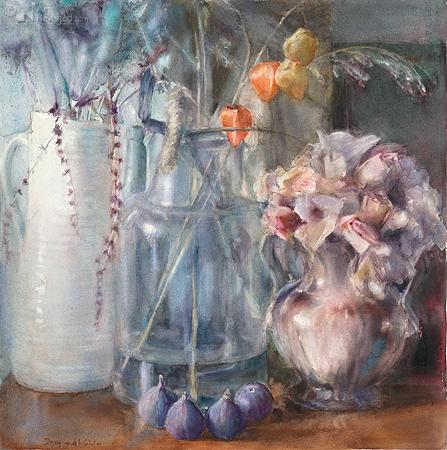 Vijgen en verdroogde bloemen