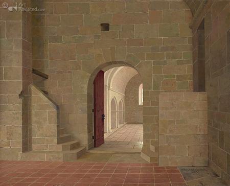 De slaapzaal van klooster le Thoronet met uitzicht in de kerk