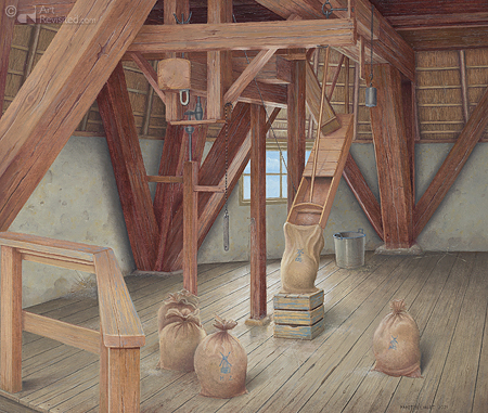 Interieur molen in Zuidwolde (Dr)