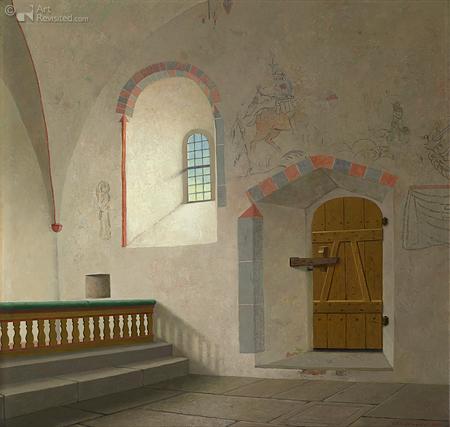 Zuidmuur met deur in de kerk van Bäl op Gotland