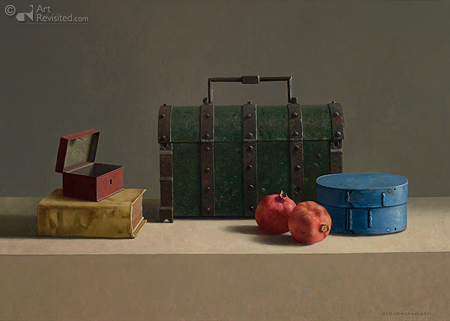 Stilleven met gotische documentenkist, granaatappels en blauwe doos