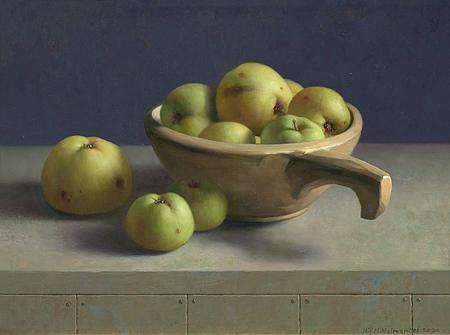 Appels in houten nap