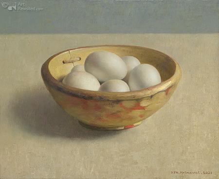 Gele nap met witte eieren