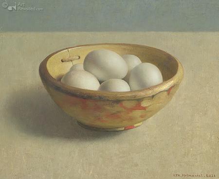 Houten nap met eieren