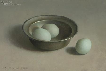 Tinnen schaaltje met drie zachtgroene eieren