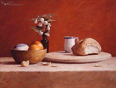plank brood kan vaas kom sinaasappel rood
