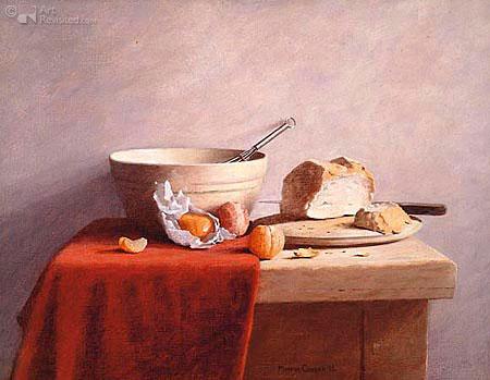 brood mandarijn kom garde plank mes kast rood