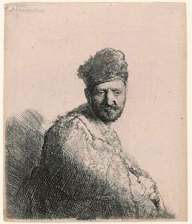 Man met bontmuts / Rembrandt van Rijn