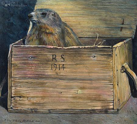 Alpenmarmot in kistje