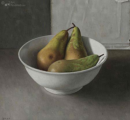 Drie peren in een schaal
