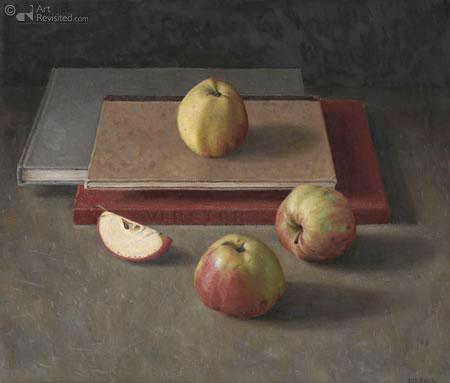 Drie rode appels op boeken