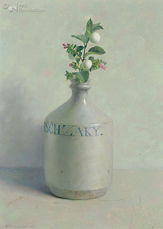 Japanese saki bottle with snowberry
