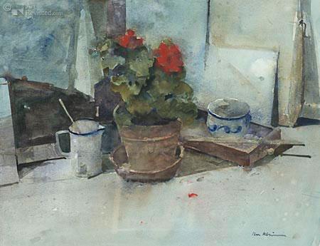 Atelierhoek met geranium