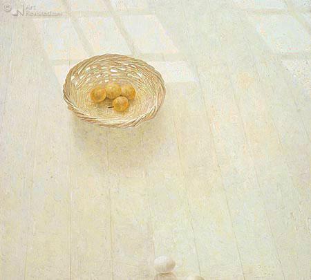 Vloerstilleven met gele pruimen en eieren