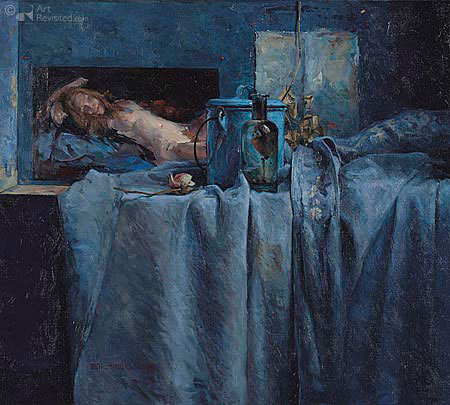 Blauw stilleven met Hildegard