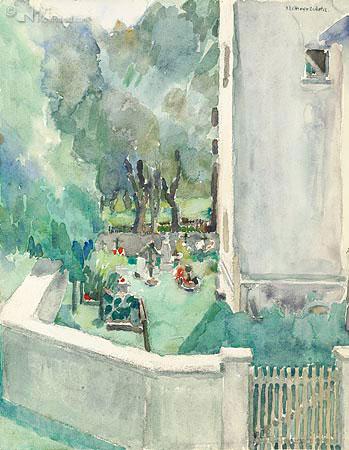 Uitzicht op kerkhof