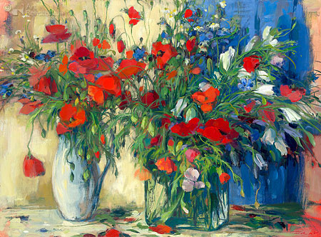 Red flowers still life