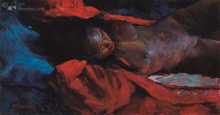Charyl liggend in rode jas op blauw kussen